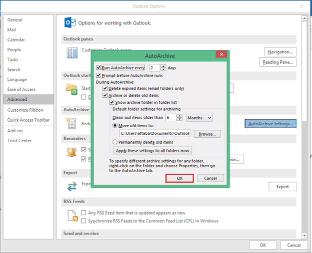 """Convert Ost to Pst using """"Archive"""""""