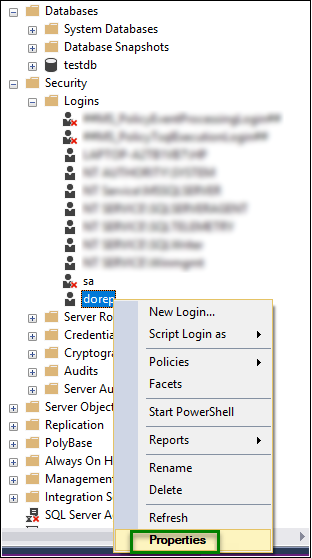 SQL Server Management Option