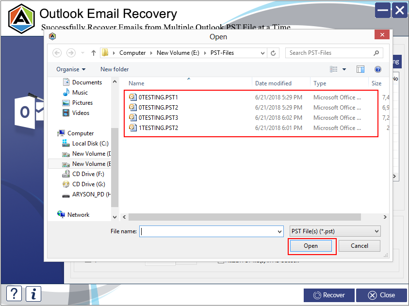 Restore outlook emails