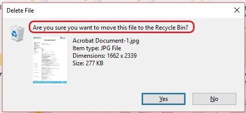 Shift + Delete Windows 10